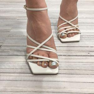 Zara!! Strappy white heeled sandal